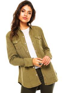Camisa Calvin Klein Jeans Bolsos Verde