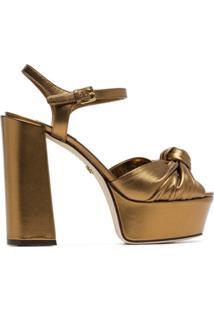 Dolce & Gabbana Sandália De Couro Com Plataforma - Dourado