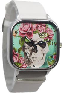 Relógio Bewatch Pulseira De Couro Branco Caveira Floral