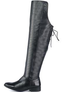 Bota Over The Knee Couro Salto Baixo Zíper Amarração Preto – Perlatto