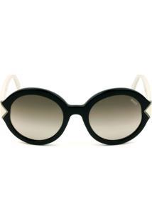 Emilio Pucci Ep 69 - Preto Brilho/Branco/Marrom Degradê 01K 53Mm - Óculos De Sol - Kanui