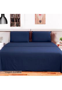 Jogo De Cama Loft Queen Size- Azul Marinho- 4Pã§Scamesa
