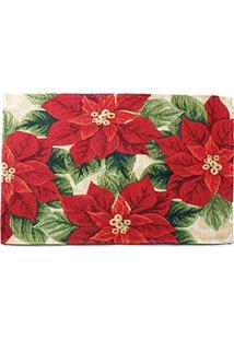 Jogo Americano Flor Poinsettia Mesa Natal Vermelha