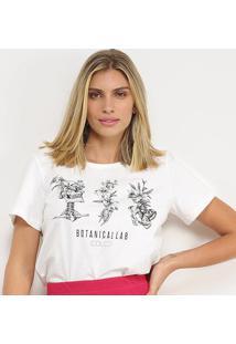 Camisetas Colcci Botanicallab Feminina - Feminino-Branco