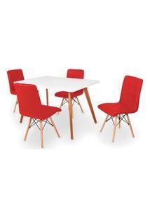 Conjunto Mesa De Jantar Gih 120X80Cm Branca Com 4 Cadeiras Gomos - Vermelho