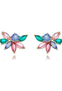 Brinco Waufen Ear Cuff Cristais Colors Multicolorido