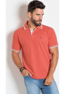 ... Camisa Polo Laranja Com Detalhe Em Branco e99c2441f31a4