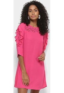 Vestido Lily Fashion Curto Reto Babados Renda - Feminino-Pink