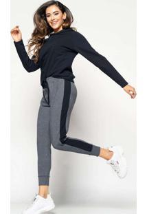 Calça Comfy Jogger Com Faixa Lateral Moletinho Ci