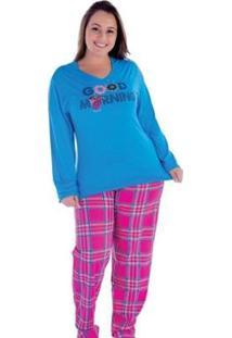 Pijama Plus Size Victory Inverno Frio Malha Fria Feminino - Feminino-Azul