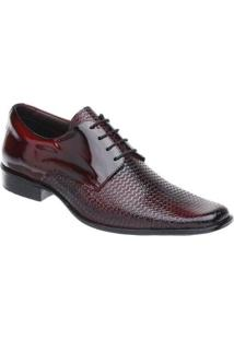 Sapato Social Couro Malbork Verniz Masculino - Masculino-Vermelho+Preto