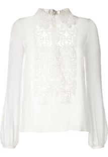 Giambattista Valli Silk Appliqué Blouse - Branco