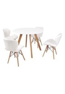 Mesa Inês 100Cm Branca + 4 Cadeiras Eiffel Slim - Branca