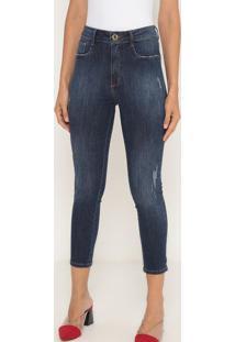 Jeans Super High Ankle Com Puídos- Azul Escuro- Lançlança Perfume