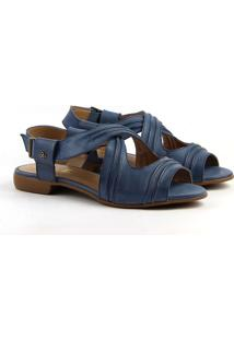 Sandália Flat Em Couro Feminina F1104 Azul 33
