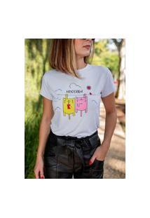 Blusa T-Shirt Camiseta Feminina Estampada - Dois Gatinhos - Branca