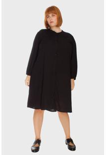 Vestido Chemise Bold Plus Size Preto - Tricae