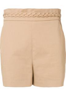 Redvalentino Shorts Com Cós Trançado - Neutro