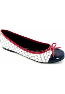 Sapatilha Cap Toe Em Verniz Sapato Show 10230 - Feminino-Branco+Marinho