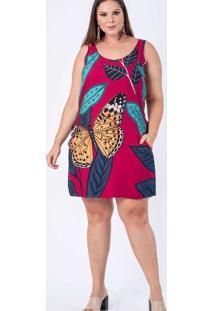 Macaquinho Almaria Plus Size Munny Estampado Roxo
