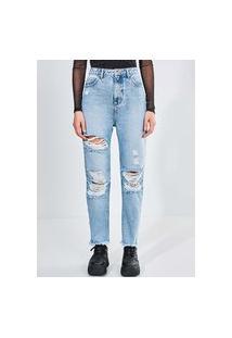 Calça Reta Destroyed Em Jeans