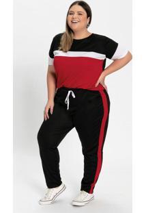 Conjunto Blusa E Calça Tricolor Plus Size