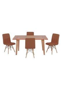 Conjunto Mesa De Jantar Em Madeira 150X80 Vértice + 4 Cadeiras Gomos - Marrom