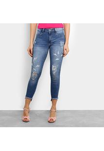 ... Calça Jeans Skinny Biotipo Cigarrete Bordado Cintura Média Feminina -  Feminino-Jeans e46ea61b1cc
