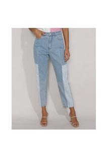 Calça Jeans Feminina Mom Cintura Super Alta Com Recortes Azul Claro