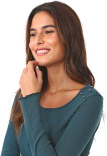 Blusa MarialãCia Tachas Verde - Verde - Feminino - Viscose - Dafiti
