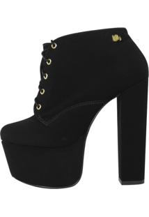 Ankle Boot Salto 15 Nobuck Preto Week Shoes Cano Curto. - Tricae