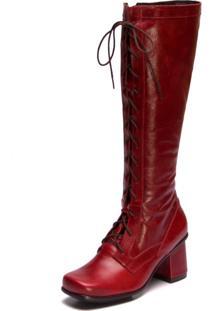 Bota Mzq Vermelha Cano Longo Em Couro - Ava Gardner Amora 7480
