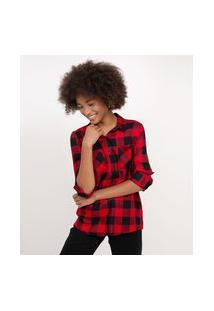Camisa Xadrez Flanela   Blue Steel   Vermelho   P