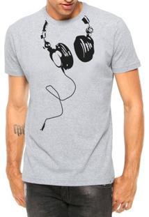 Camiseta Criativa Urbana Fones Nerd Geek Engraçadas Divertidas Manga Curta - Masculino-Cinza