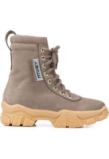 Grey Mer Ankle Boot Com Cadarço - Cinza