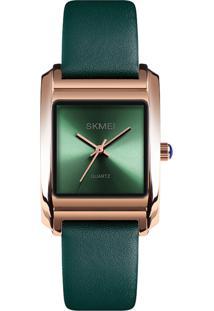 Relógio Skmei Analógico 1432 - Verde E Rosê - Tricae