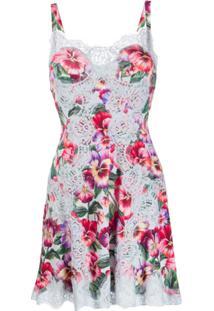 Dolce & Gabbana Slip Dress Com Estampa - Azul