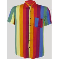Camisa Masculina Carnaval Arco Íris Com Bolso Manga Curta Multicor 724400ba37