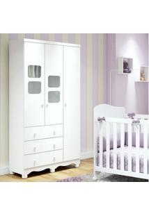 Guarda Roupa De Bebê 3 Portas 3 Gavetas Uli Móveis Peroba Branco Brilho