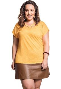 Blusa Plus Size Básica Amarela Detalhe Tiras