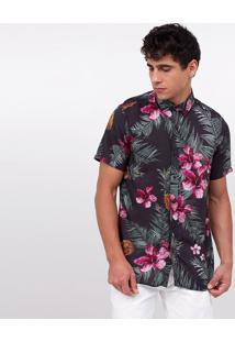 Camisa Estampada Com Abacaxis Tropicais