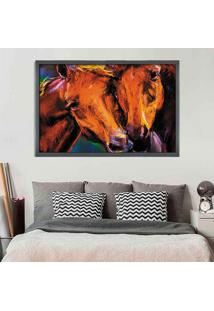 Quadro Love Decor Com Moldura Horses Grafitti Metalizado Grande