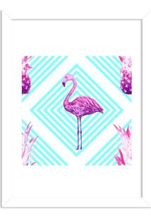 Quadro Decorativo Flamingo Tropical Moderno Branco - Médio