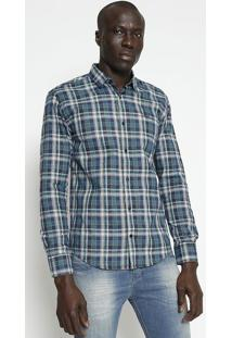 Camisa Slim Fit Xadrez - Azul & Verde- M. Officerm. Officer