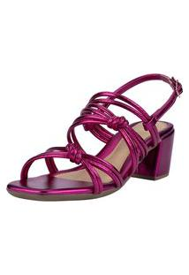 Sandália Feminina Domidona Bico Quadrado Metalizada Tiras Nó Salto Pink