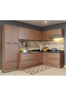 Cozinha Completa Multimóveis Com 11 Peças Calábria 5462R Nogueira