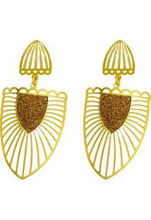 Brinco Folheado A Ouro Visujóias Modelo Glamour Brazão Brilho Dourado