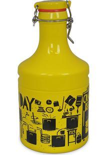 Garrafão Growler Steel-Festival Cerveja 2Litros-Mondoceram - Amarelo