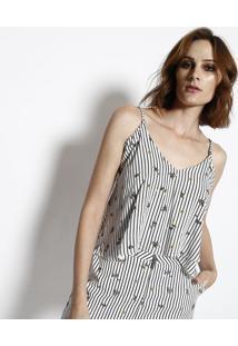 Blusa Cropped Com Regulagem - Branca & Preta- My Favmy Favorite Things