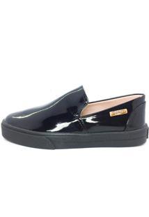 Tênis Slip On Quality Shoes Feminino 004 Verniz Preto Sola Preta 28